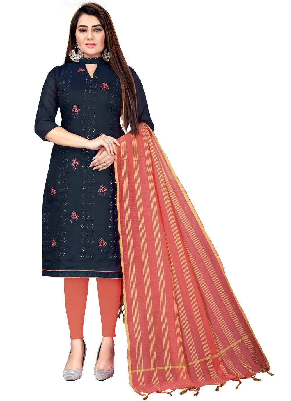 Navy Blue Chanderi Cotton Embroidered Churidar Suit