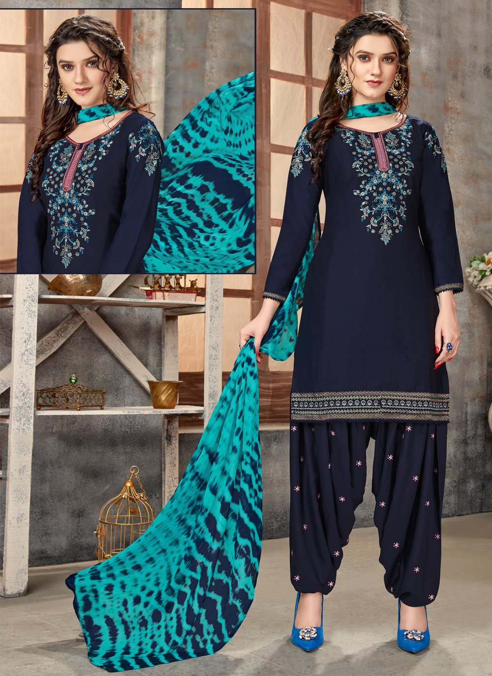 Navy Blue Color Designer Patiala Suit