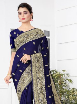 Navy Blue Color Traditional Designer Saree