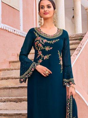 Navy Blue Color Trendy Salwar Kameez
