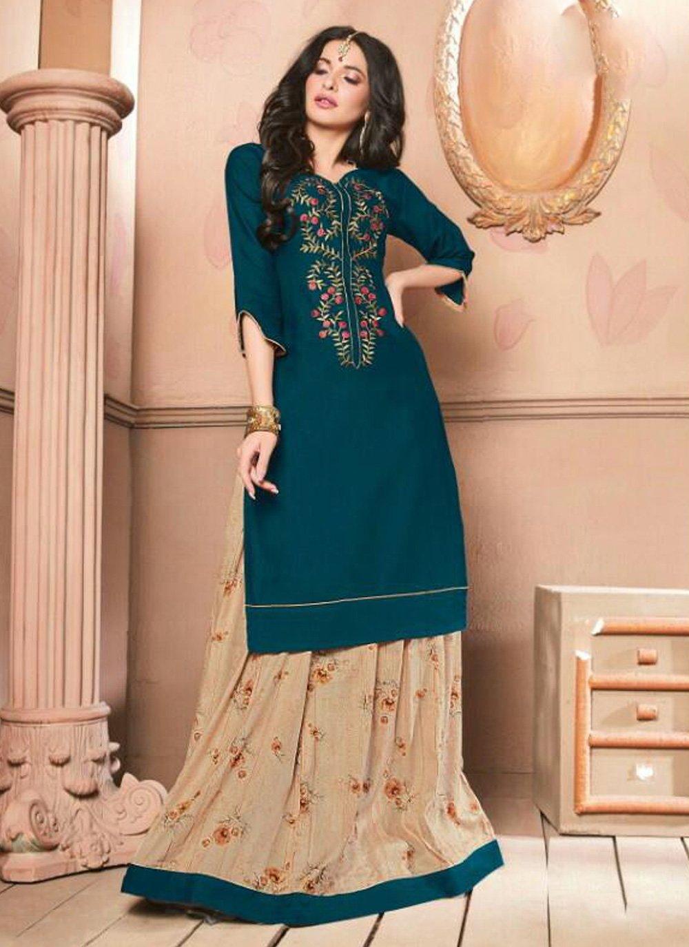 Navy Blue Cotton Embroidered Trendy Lehenga Choli
