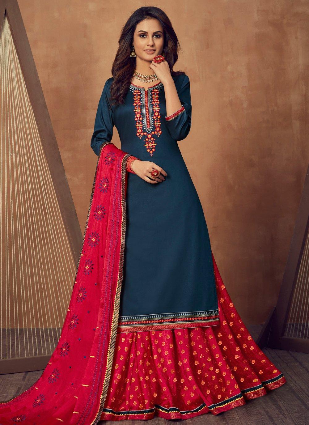 Navy Blue Cotton Silk Mehndi Long Choli Lehenga