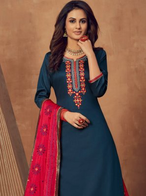 Navy Blue Cotton Silk Mehndi Long Choli Lehenga