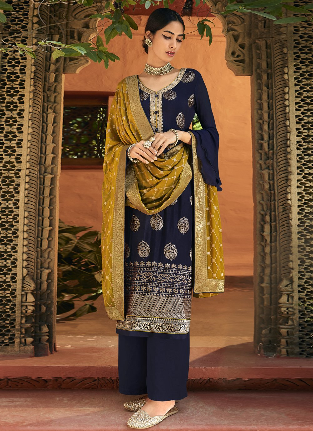 Navy Blue Designer Palazzo Salwar Kameez
