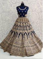 Navy Blue Embroidered A Line Lehenga Choli