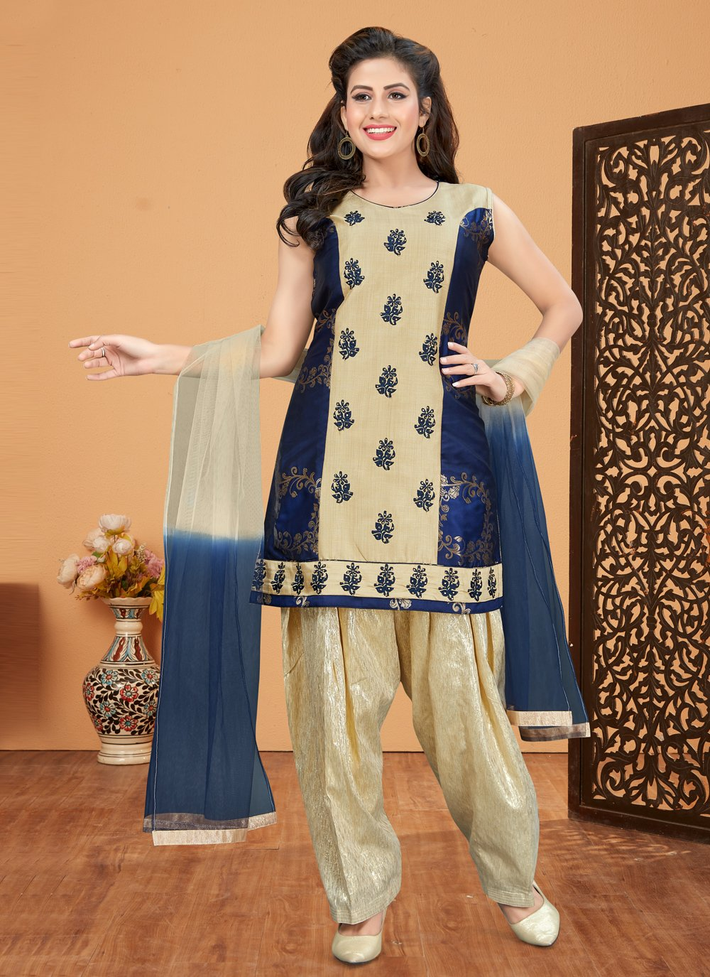 Navy Blue Embroidered Brocade Designer Patiala Suit