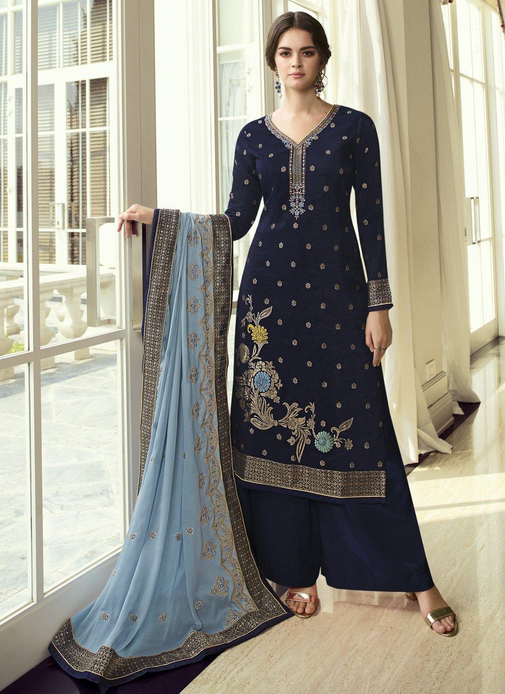 Navy Blue Embroidered Ceremonial Designer Pakistani Suit
