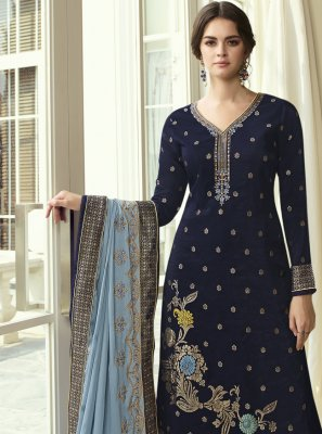 Navy Blue Embroidered Ceremonial Designer Pakistani Suit