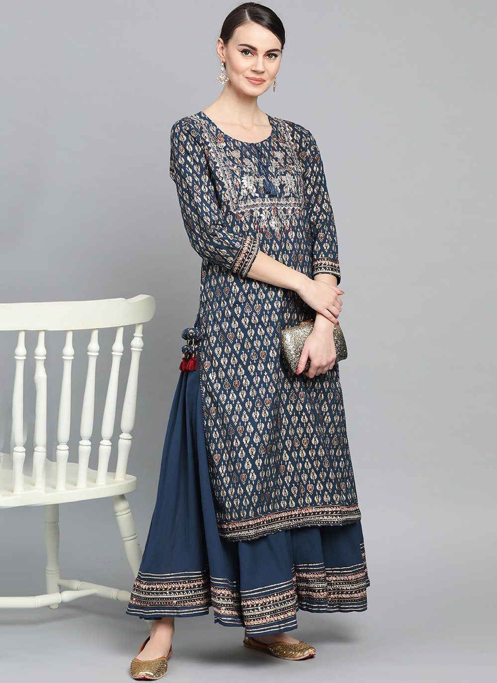 Navy Blue Embroidered Ceremonial Party Wear Kurti