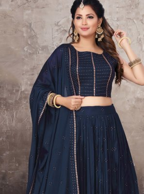 Navy Blue Embroidered Chinon Bollywood Lehenga Choli