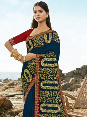 Navy Blue Embroidered Designer Traditional Saree