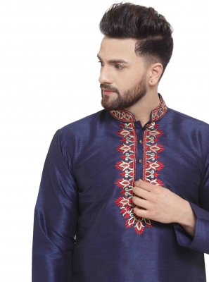Navy Blue Embroidered Engagement Kurta