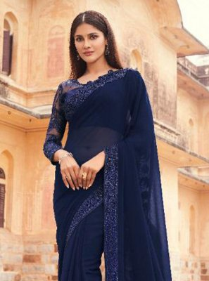 Navy Blue Embroidered Faux Georgette Designer Saree