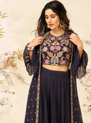 Navy Blue Embroidered Faux Georgette Readymade Suit