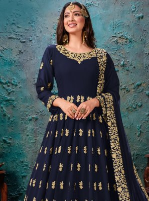 Navy Blue Embroidered Festival Desinger Anarkali Salwar Kameez