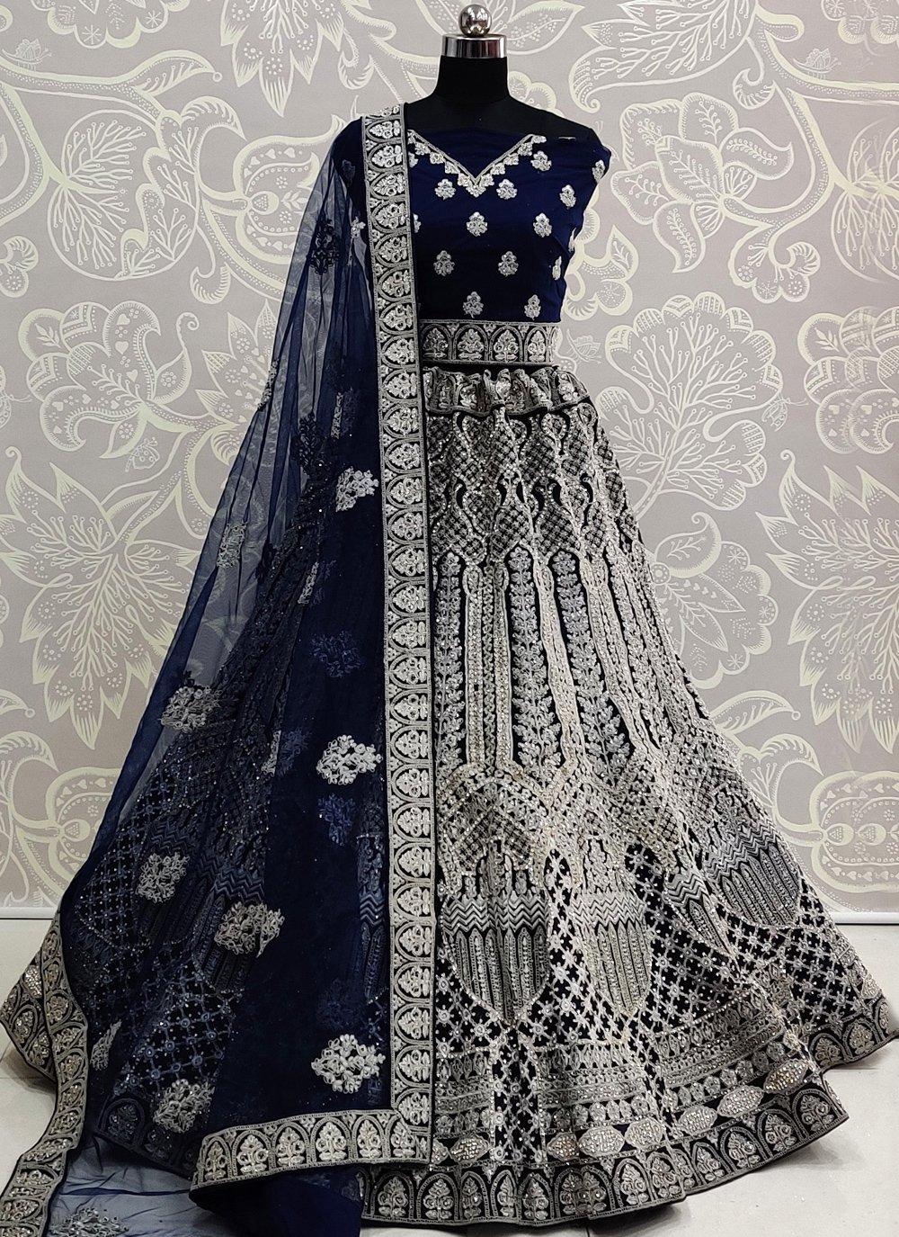 Navy Blue Embroidered Lehenga Choli