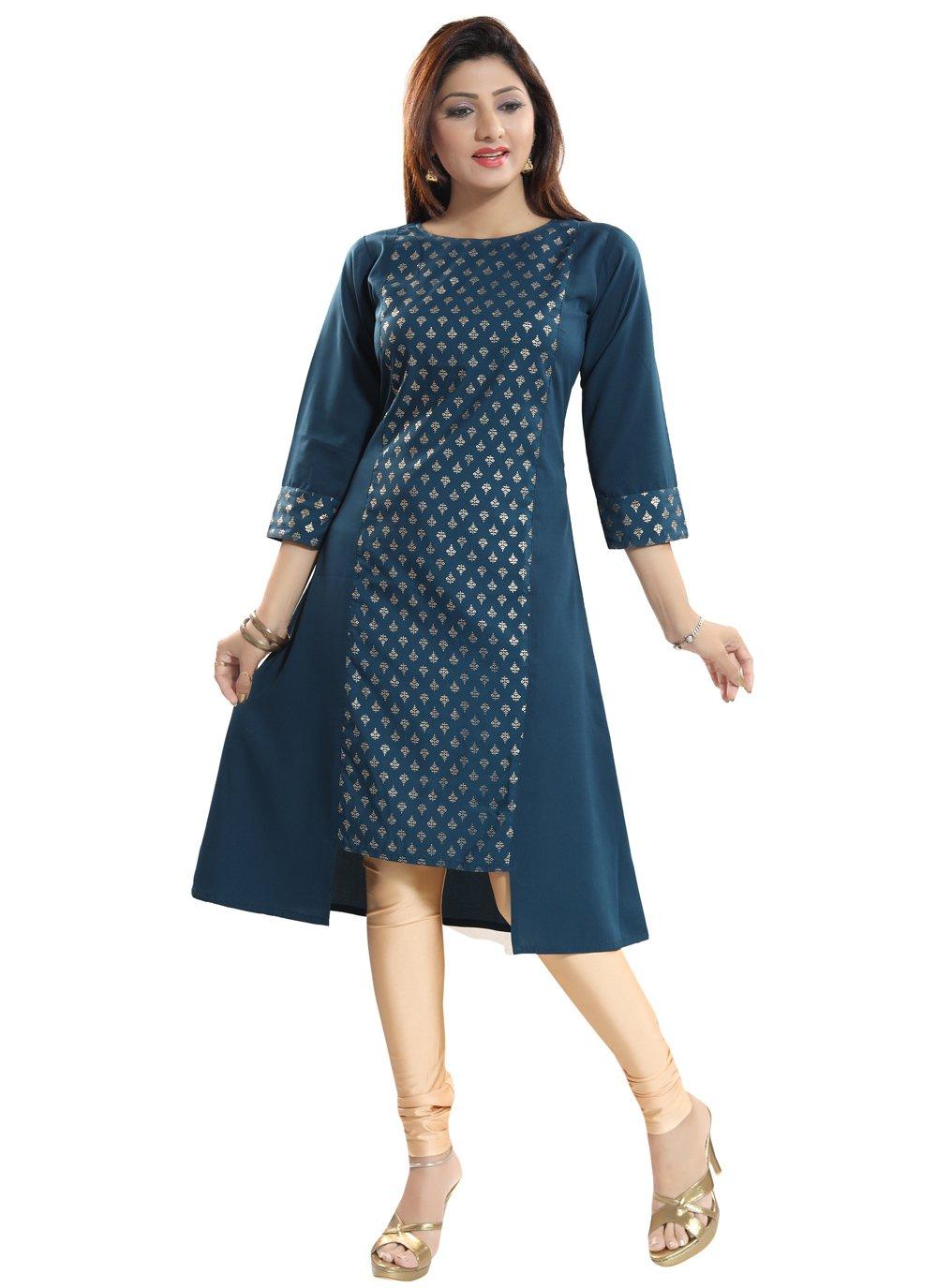 Navy Blue Fancy Fabric Casual Kurti