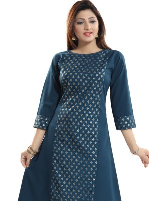 Navy Blue Fancy Fabric Casual Kurti