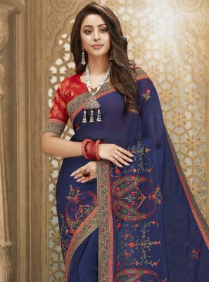 Navy Blue Fancy Fabric Engagement Designer Saree