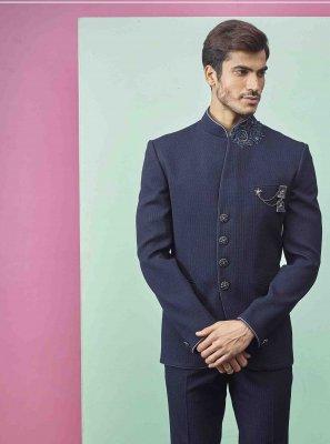 Navy Blue Fancy Fabric Plain Indo Western