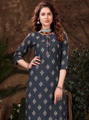 Navy Blue Fancy Fabric Print Party Wear Kurti