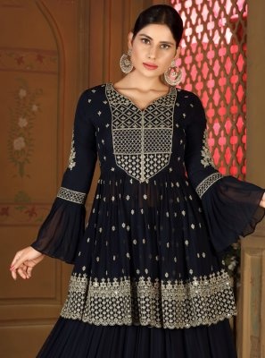 Navy Blue Fancy Readymade Lehenga Choli
