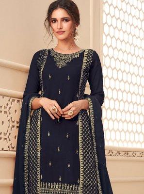 Navy Blue Faux Georgette Designer Pakistani Salwar Suit