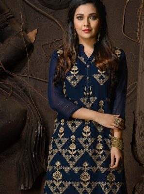 Navy Blue Faux Georgette Party Wear Kurti
