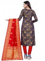 Navy Blue Festival Banarasi Silk Churidar Designer Suit