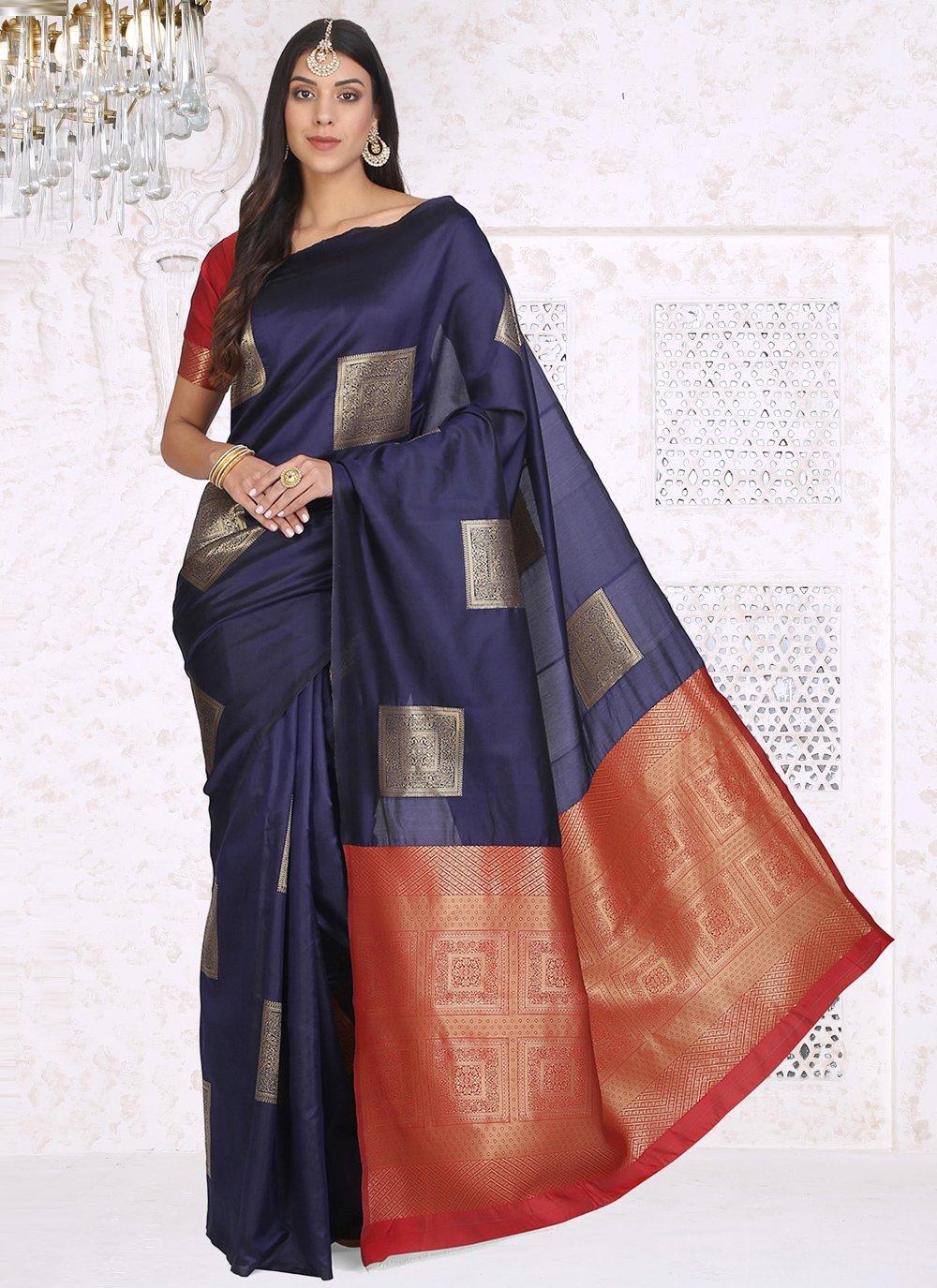 Navy Blue Festival Cotton Silk Printed Saree