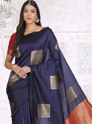 Navy Blue Festival Cotton Silk Printed Saree