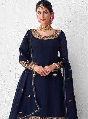 Navy Blue Festival Designer Kameez Style Lehenga Choli