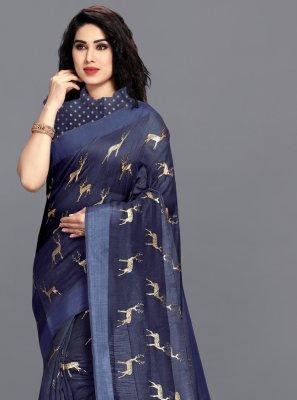 Navy Blue Festival Printed Saree