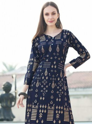 Navy Blue Festival Rayon Party Wear Kurti