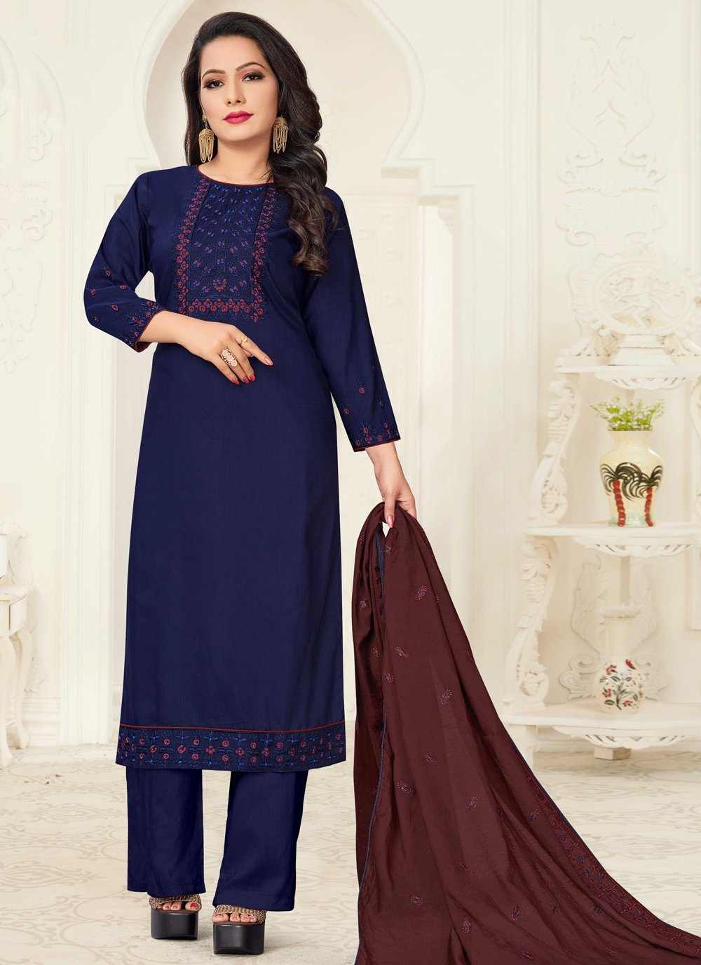 Navy Blue Festival Readymade Suit