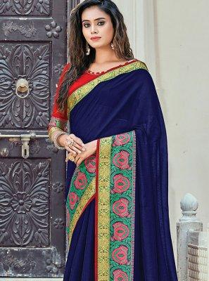 Navy Blue Handloom Cotton Woven Classic Saree