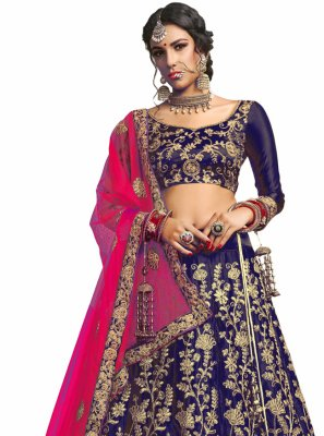 Navy Blue Lace Satin Silk A Line Lehenga Choli