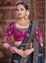 Navy Blue Mehndi Traditional Saree