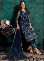 Navy Blue Net Embroidered Designer Pakistani Suit