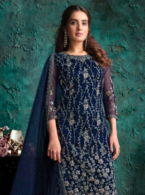 Navy Blue Net Embroidered Designer Pakistani Suit