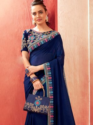 Navy Blue Party Chanderi Bollywood Saree