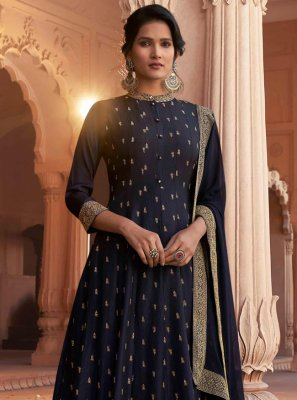Navy Blue Patch Border Ceremonial Floor Length Anarkali Suit