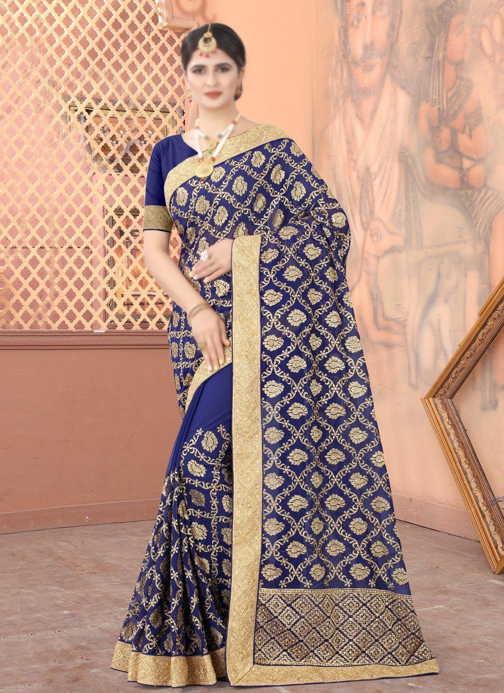 Navy Blue Patch Border Traditional Designer Saree