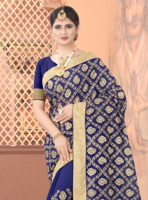 Navy Blue Patch Border Traditional Designer Saree