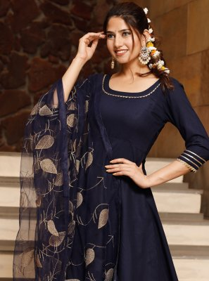 Navy Blue Plain Bollywood Salwar Kameez