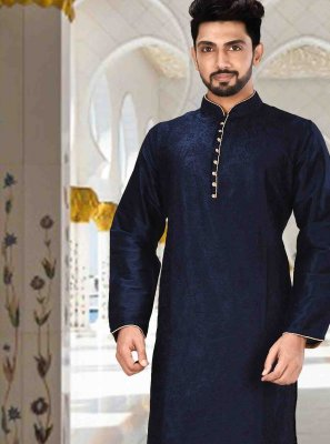 Navy Blue Plain Engagement Kurta Pyjama