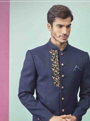Navy Blue Plain Fancy Fabric Indo Western
