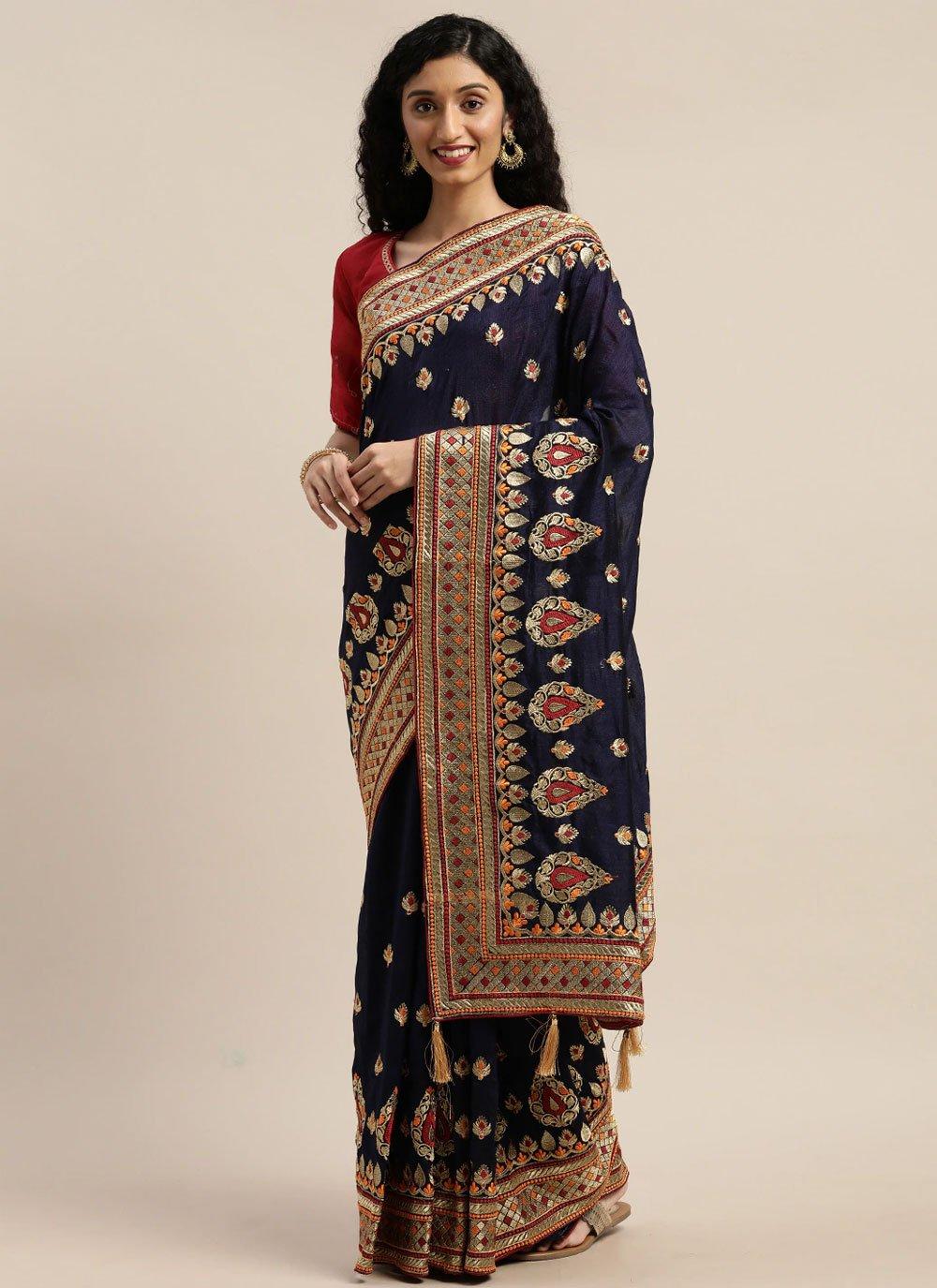 Navy Blue Poly Cotton Designer Traditional Saree