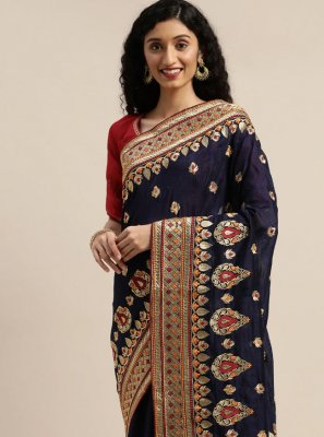 Navy Blue Poly Cotton Designer Traditional Saree