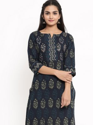 Navy Blue Print Cotton Party Wear Kurti